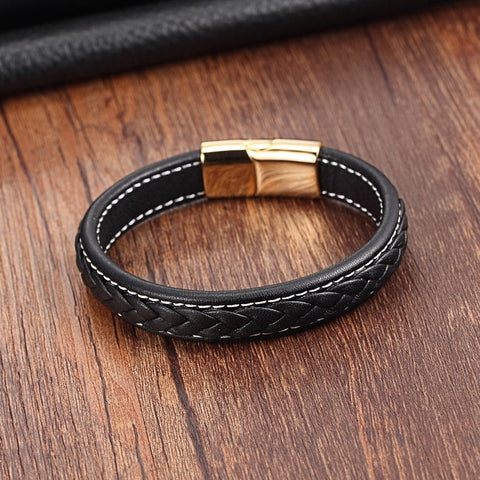 Image of Genuine Leather Stainless Steel Magnetic Buckle
