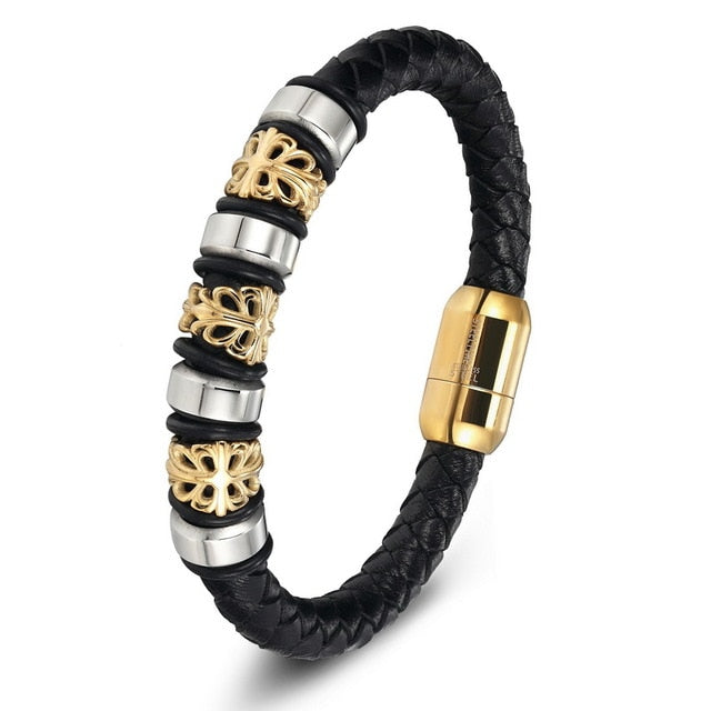 Gold Genuine Leather Stainless Steel Bracelets