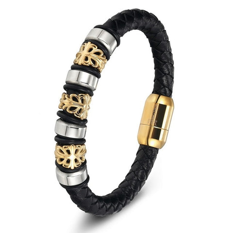 Image of Gold Genuine Leather Stainless Steel Bracelets