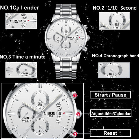 Image of Silver/Black Quartz Mens Watch Waterproof Stainless Steel Clock Relogio Masculino