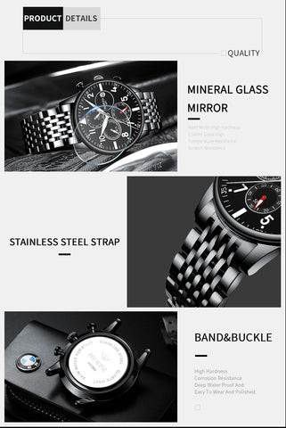 Image of Silver/Black Quartz Business Top Brand Luxury Men Casual Sport Watch