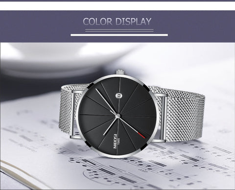 Silver Super Slim Sleek Black Face Quartz Alloy Mesh Milanese Analog Watch