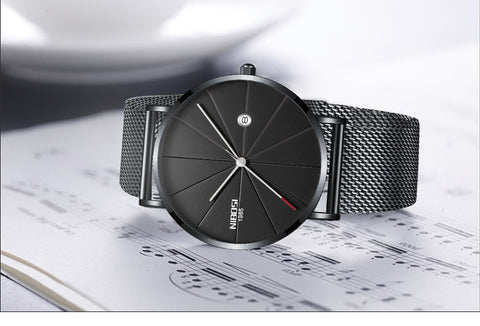 Image of Gunmetal Super Slim Sleek Black Face Quartz Alloy Mesh Milanese Analog Watch