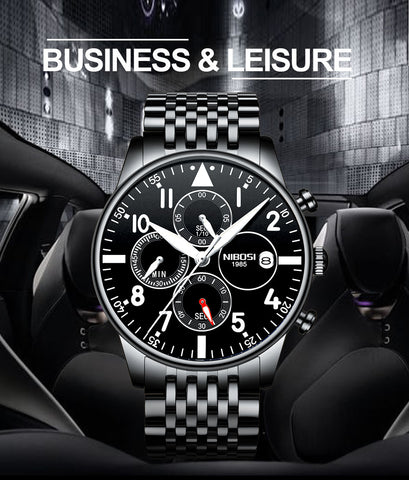 Image of Silver/Blue Quartz Business Top Brand Luxury Men Casual Sport Watch