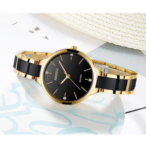 Image of Black Gold Quartz Ceramic Business Women Top Brand Luxury Casual Watch