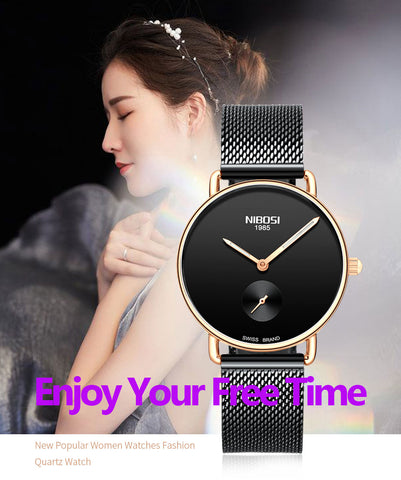 Image of Silver Blue Quartz Womens Watch Mesh Alloy Milanese Band Clock
