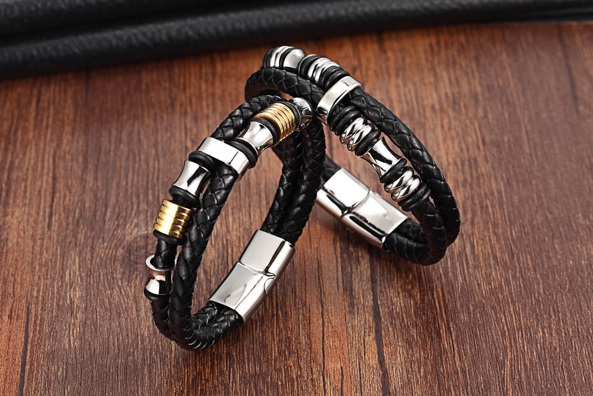 Leather Stainless Steel Wristband Bracelet