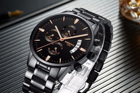 Image of Black/Gold Quartz Mens Watch Waterproof Stainless Steel Clock Relogio Masculino