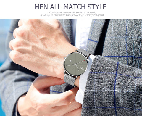Image of Silver Super Slim Sleek Blue Face Quartz Alloy Mesh Milanese Band Analog Watch
