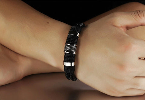 Handmade Genuine Leather Weaved Double Layer Bracelet