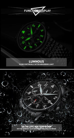 Image of Silver/Black Quartz Mesh Alloy Business Top Brand Luxury Men Casual Sport Watch