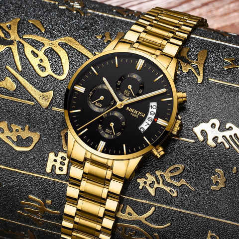 Image of Gold/Black Quartz Mens Watch Waterproof Stainless Steel Clock Relogio Masculino