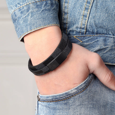 Image of Handmade Cross Wide Cuff Bracelets Stainless Steel Magnetic Genuine Leather Bracelet