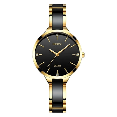 Black Gold Quartz Ceramic Business Women Top Brand Luxury Casual Watch