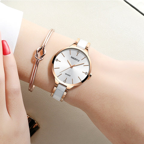 Image of Gold White Quartz  Ceramic Business Women Top Brand Luxury Casual Watch