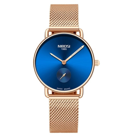 Image of Rose Blue Quartz Womens Watch Mesh Alloy Milanese Band Clock