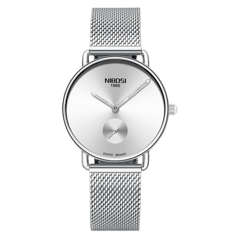 Silver Quartz Womens Watch Mesh Alloy Milanese Band Clock