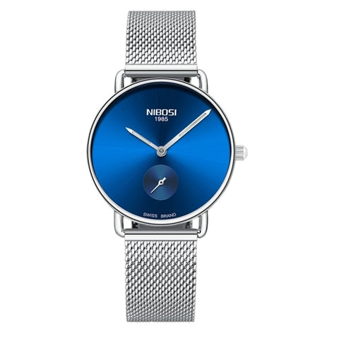 Silver Blue Quartz Womens Watch Mesh Alloy Milanese Band Clock