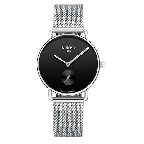 Silver/Black Quartz Womens Watch Mesh Alloy Milanese Band Clock