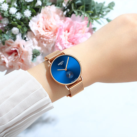 Rose Blue Quartz Womens Watch Mesh Alloy Milanese Band Clock