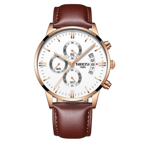 Image of Gold/White Quartz Mens Watch Waterproof Leather Strap Clock Relogio Masculino
