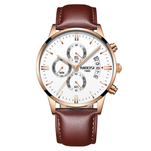Gold/White Quartz Mens Watch Waterproof Leather Strap Clock Relogio Masculino