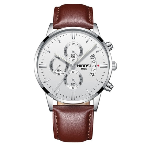 Image of Silver/White Quartz Mens Watch Waterproof Leather Strap Clock Relogio Masculino