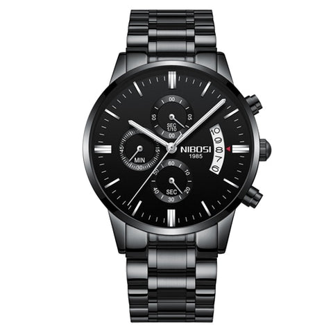 Image of Black/Silver Quartz Mens Watch Waterproof Stainless Steel Clock Relogio Masculino