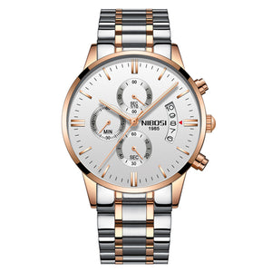 Silver/Gold Quartz Mens Watch Waterproof Stainless Steel Clock Relogio Masculino