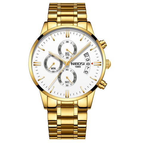 Image of Gold/White Quartz Mens Watch Waterproof Stainless Steel Clock Relogio Masculino