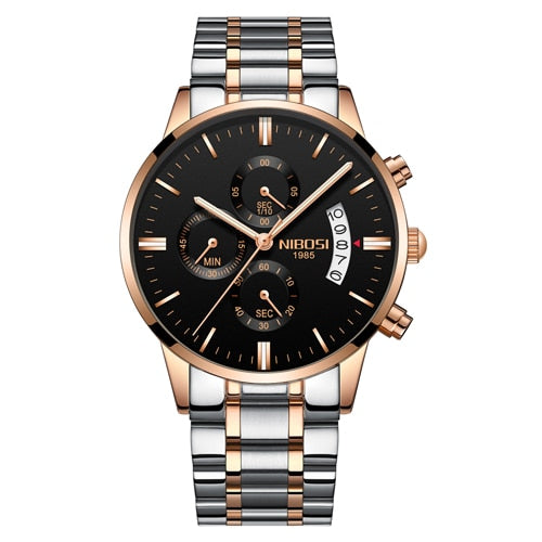 Silver/Black/Gold Quartz Mens Watch Waterproof Stainless Steel Clock Relogio Masculino