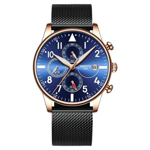Black/Gold/Blue Quartz Business Top Brand Luxury Men Casual Sport Watch