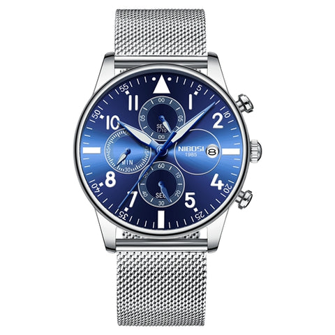 Silver/Blue Quartz Mesh Alloy Strap Business Top Brand Luxury Men Casual Sport Watch
