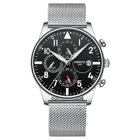 Silver/Black Quartz Mesh Alloy Business Top Brand Luxury Men Casual Sport Watch
