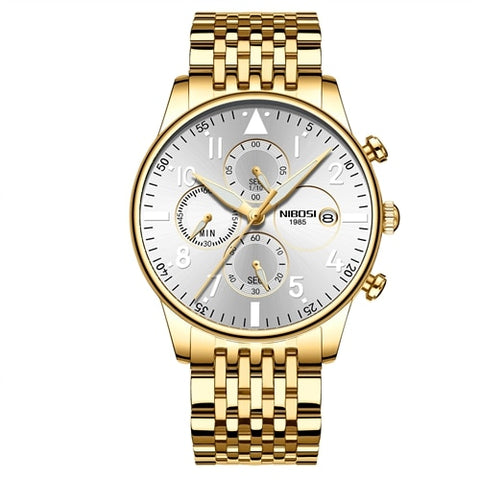 Image of Gold/White Quartz Business Top Brand Luxury Men Casual Sport Watch