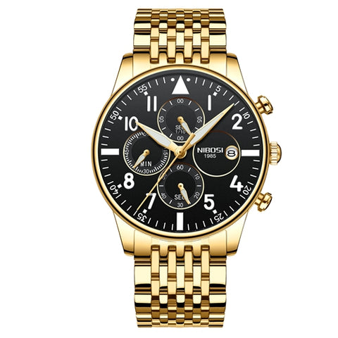 Gold/Black Quartz Business Top Brand Luxury Men Casual Sport Watch
