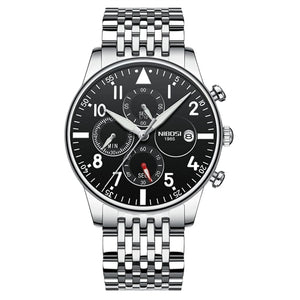 Silver/Black Quartz Business Top Brand Luxury Men Casual Sport Watch