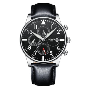 Black/Silver Leather Quartz Business Top Brand Luxury Men Casual Sport Watch