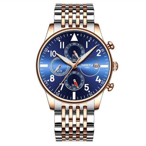 Silver/Gold/Blue Quartz Business Top Brand Luxury Men Casual Sport Watch