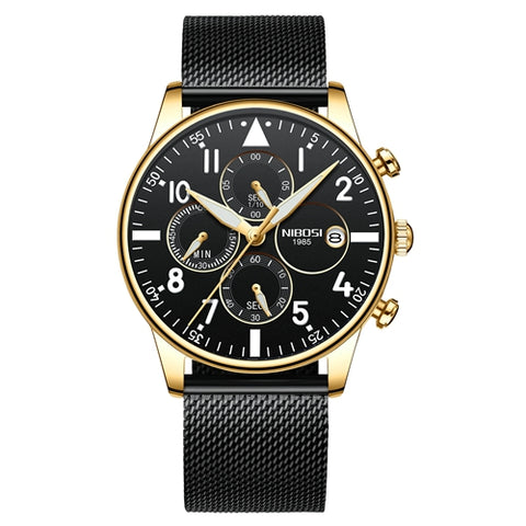 Black/Gold Quartz Business Top Brand Luxury Men Casual Sport Watch
