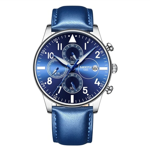 Blue/Silver Quartz Leather Business Top Brand Luxury Men Casual Sport Watch