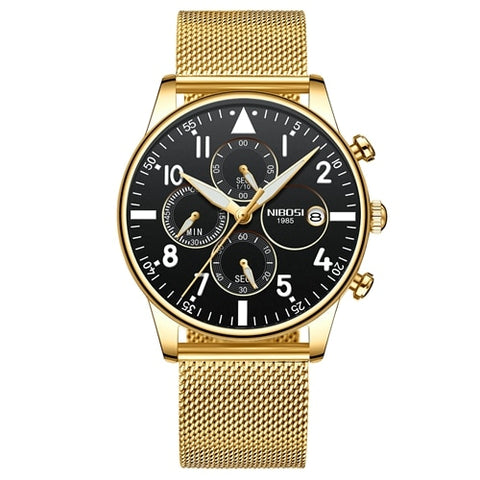 Gold/Black Quartz Mesh Alloy Band Business Top Brand Luxury Men Casual Sport Watch