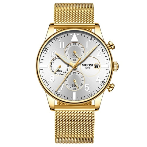 Gold/Silver Quartz Business Mesh Alloy Band Top Brand Luxury Men Casual Sport Watch