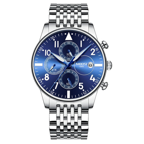 Silver/Blue Quartz Business Top Brand Luxury Men Casual Sport Watch