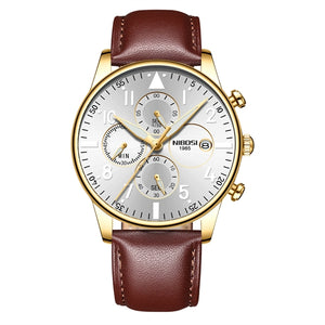 Brown/Gold/Silver Quartz Leather Business Top Brand Luxury Men Casual Sport Watch