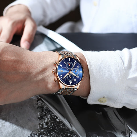 Image of Silver/Gold/Blue Quartz Business Top Brand Luxury Men Casual Sport Watch