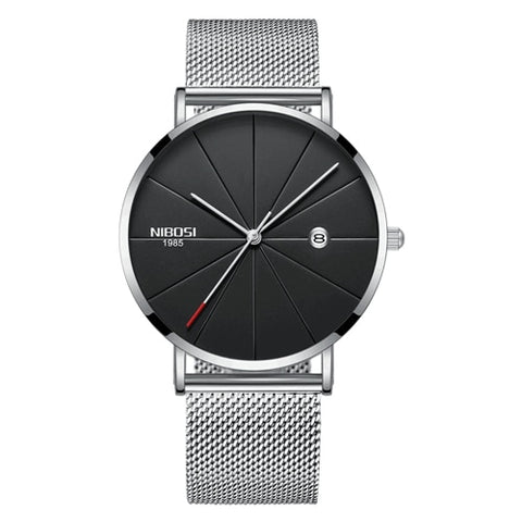 Image of Silver Super Slim Sleek Black Face Quartz Alloy Mesh Milanese Analog Watch