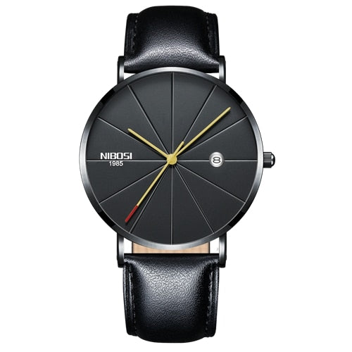 Gunmetal Super Slim Sleek Black Face Gold Hands Quartz With Black Leather Analog Watch