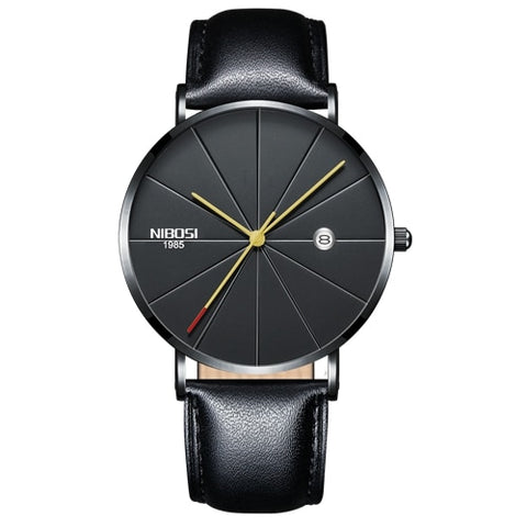 Image of Gunmetal Super Slim Sleek Black Face Gold Hands Quartz With Black Leather Analog Watch