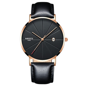 Rose Gold Super Slim Sleek Black Face Quartz with Black Leather Analog Watch